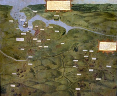 A tapestry depicting the battle in Trinity College Dublin.