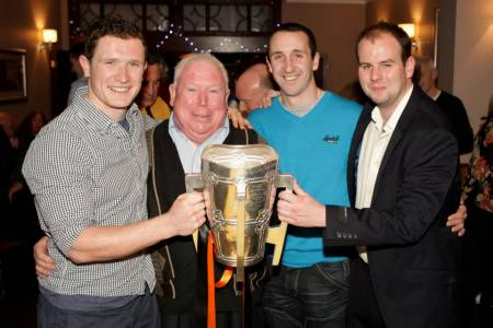 Paul brought the Liam McCarthy to London with team mate Eoin Larkin in 2012. Here they are pictured with John Hanrahan and Irish World Sports Editor David Hennessy (far right). Picture: Anne Mullen