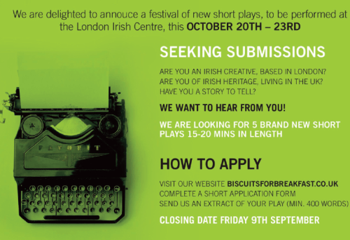 Wanted young London Irish playwrights