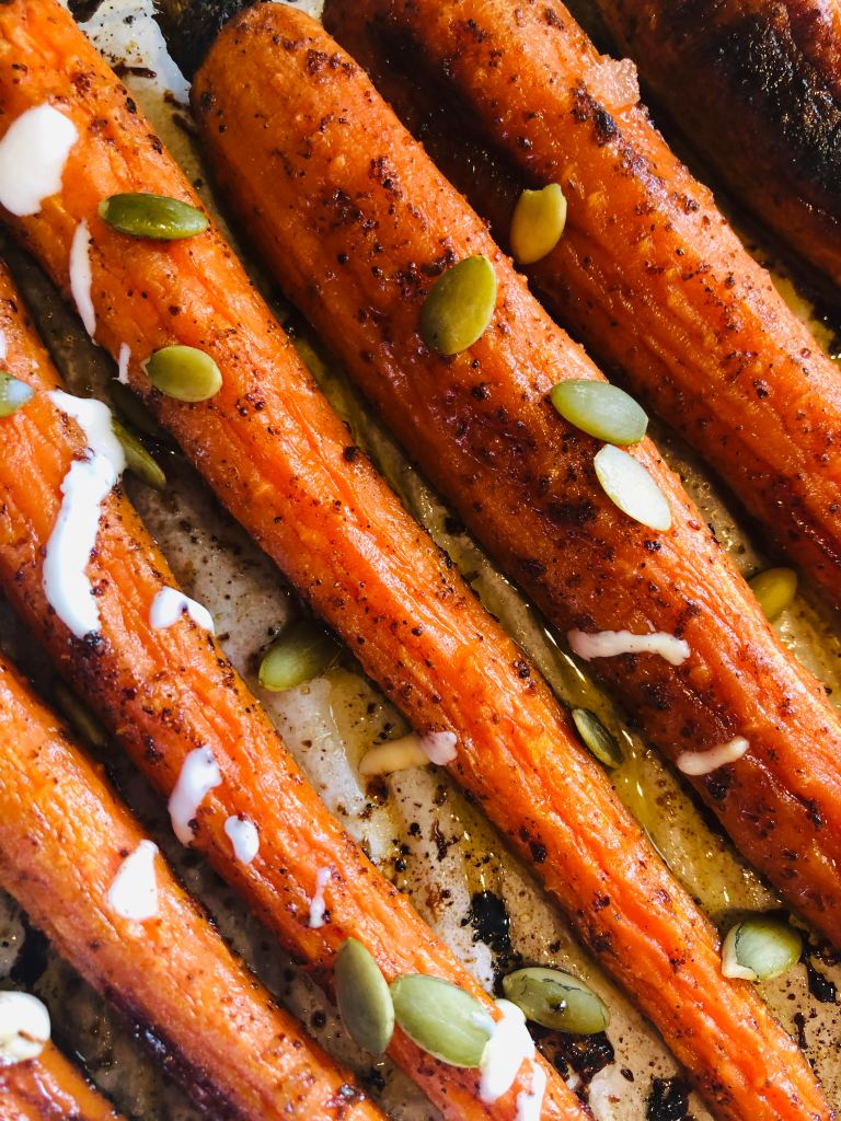 honey sumac carrots with lime yogurt drizzle