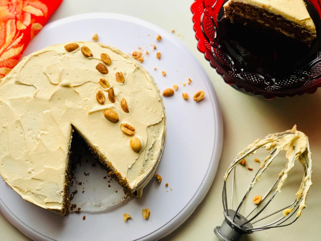 peanut butter molasses layer cake with peanut butter frosting