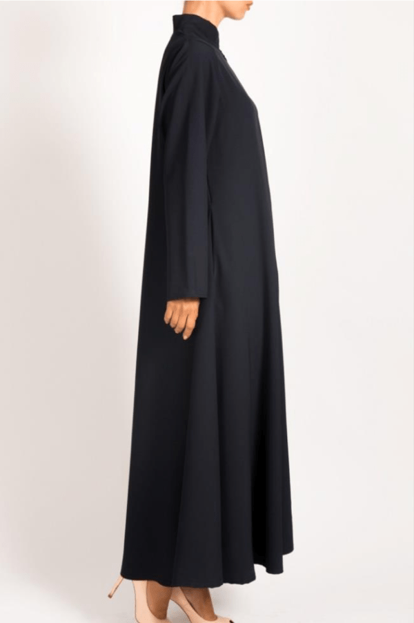 Front zip navy abayah with pockets on each side - Q&S Islamic Store