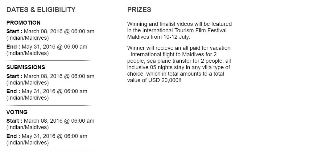 Sun Siyam Iru Fushi competition guidelines