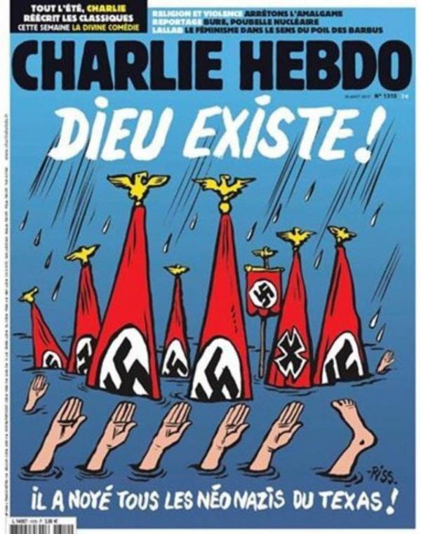 charlie hebdo mocks harvey victims