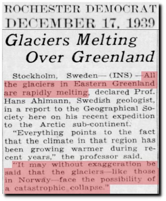 glaciers melting 1939