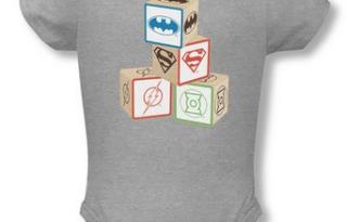 JLA blocks onesie on Amazon