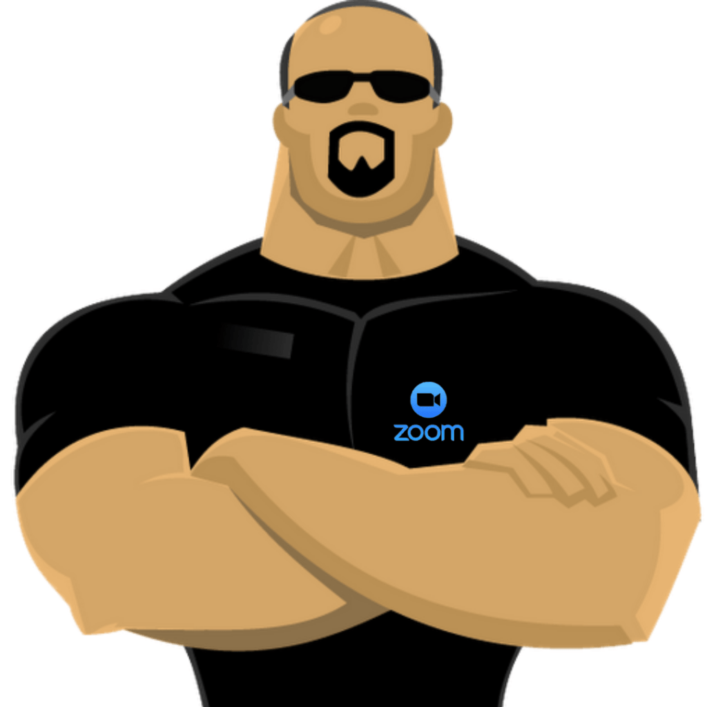 Male Security Guard standing with arms crossed and with the Zoom logo on his shirt.