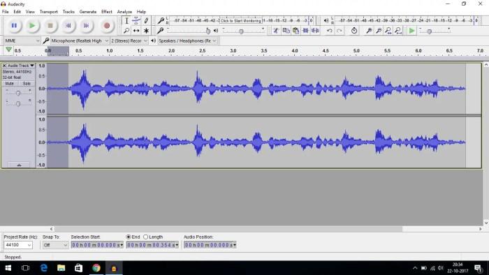 audacity select noise profile
