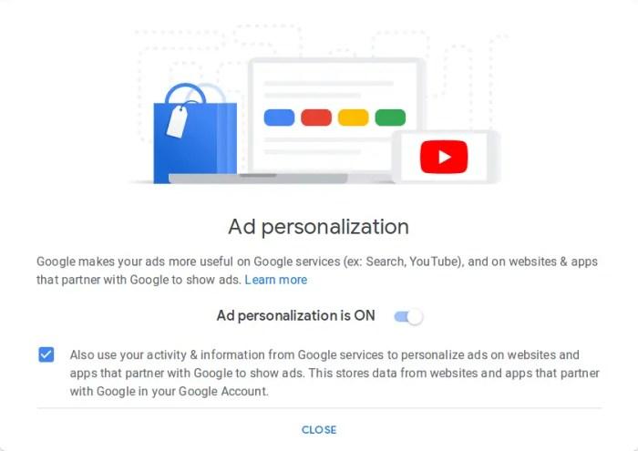 google ad personlization settings