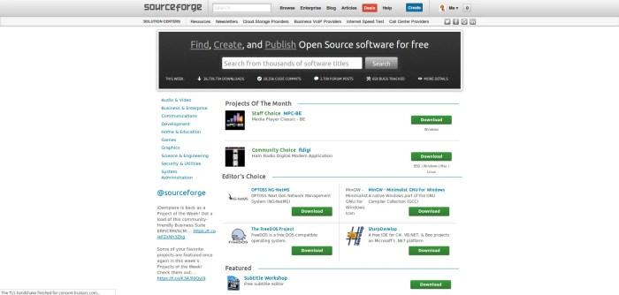 sourceforge homepage