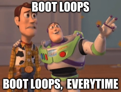 android boot loops