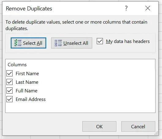 remove duplicates Window