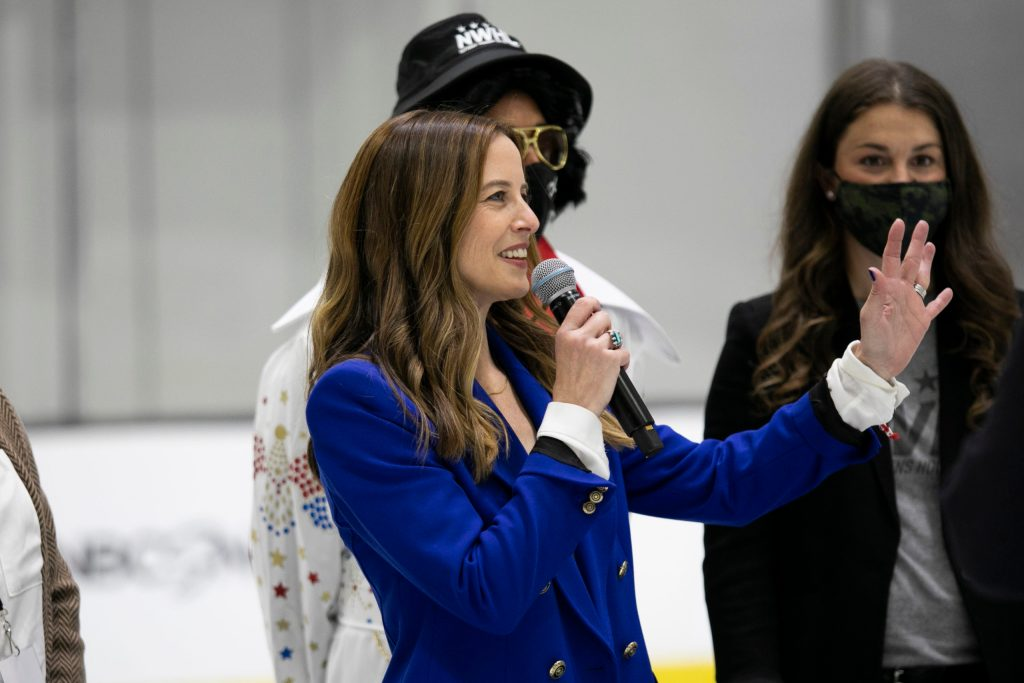 The Boston Pride celebrate winning the 2021 Isobel Cup Final in Boston on Mar 27, 2021. (Michelle Jay/NWHL)