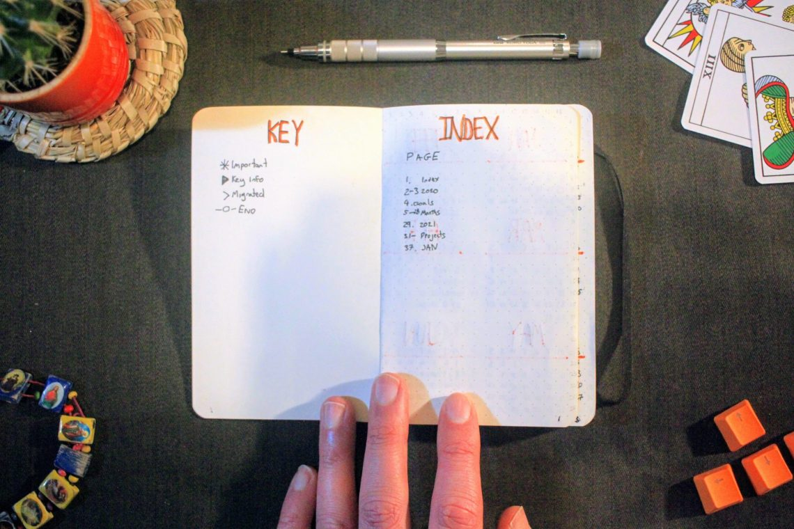 Bullet Journal Key and Index Page