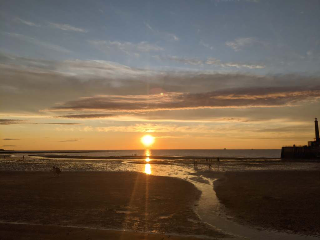 A photo of a Golden sunset at margate, August 2021