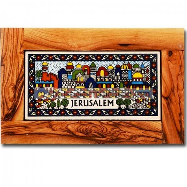 olive wood framed rectangle armenian tile wall hanging jerusalem