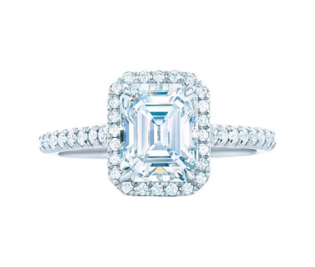 Tiffany Soleste Emerald Cut Diamond Engagement Ring Featuring Bead Set Diamonds Surrounding The Central