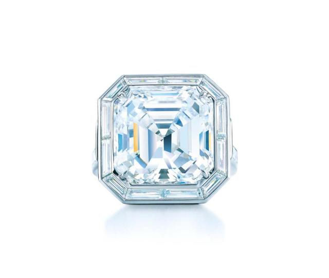 Tiffany Co Emerald Cut Diamond Engagement Ring From Their Blue Book Collection