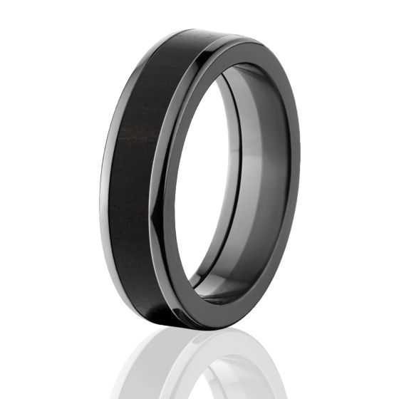 Black Rings With Wood African BlackWood Wedding Band