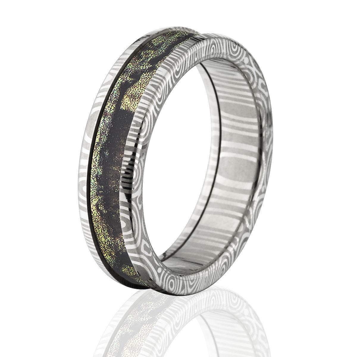 Damascus Steel Camo Rings 6mm Break Up Infinity Camo Band