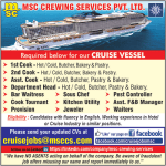 MSC Crewing Services recruitment for its Cruise Vessel – 2018