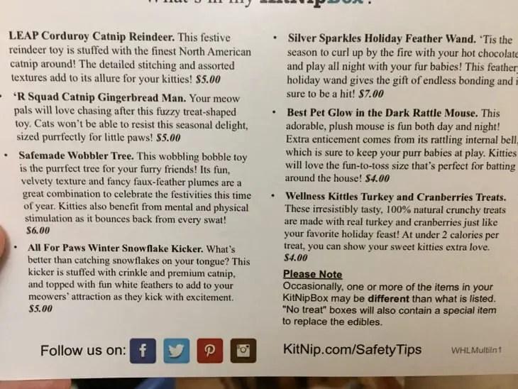 KitNipBox December 2017 Contents