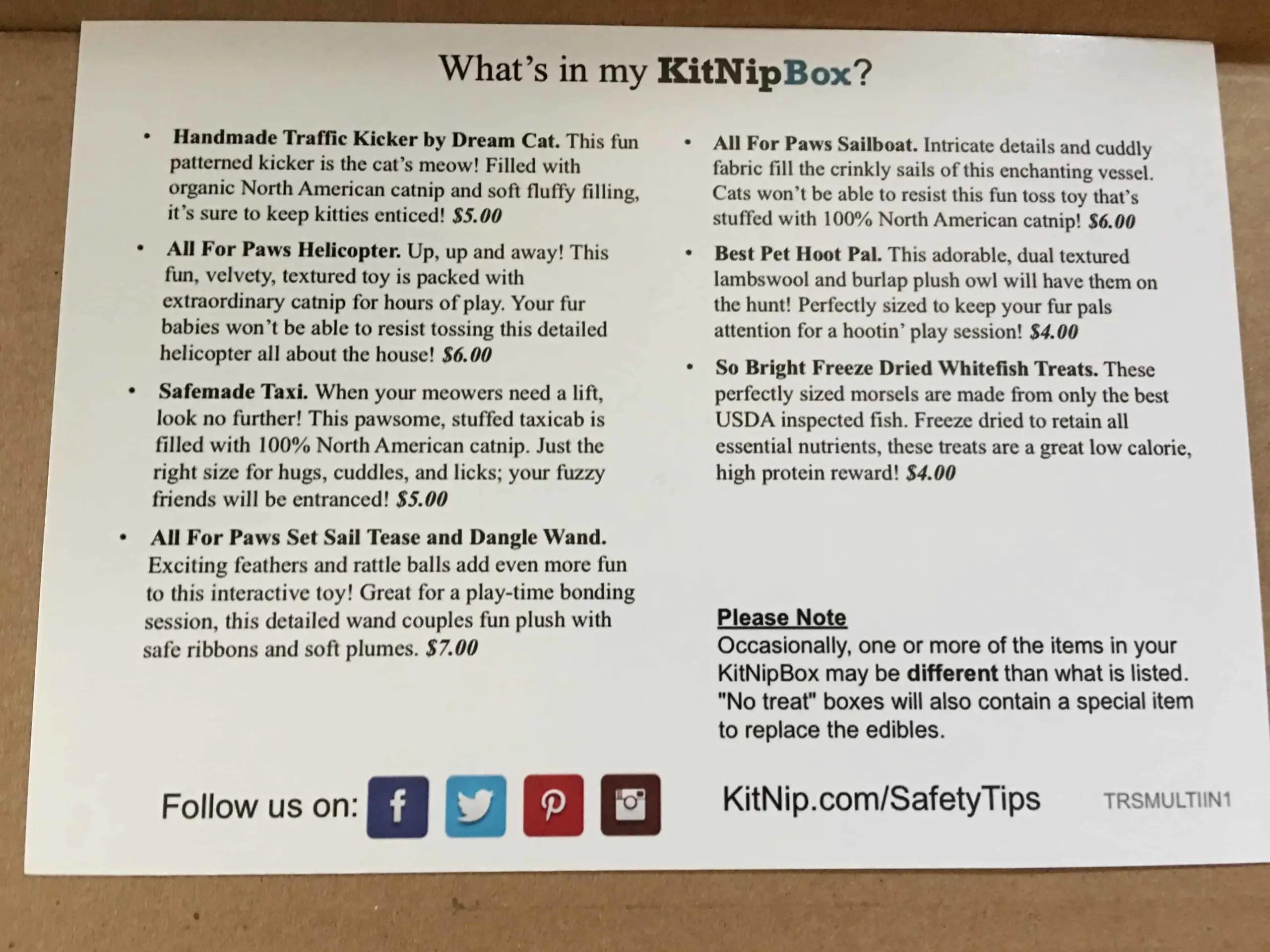 February 2018 KitNipBox - Item List