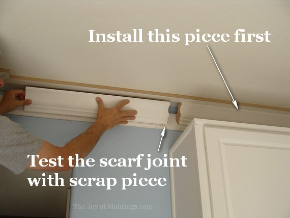 diy kitchen crown molding scarf joint
