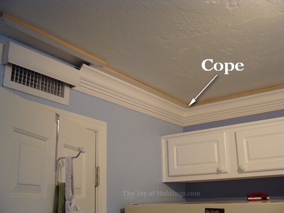 diy kitchen crown molding cope joint