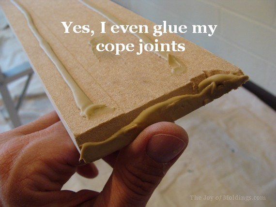glue your crown molding cope joints before installing