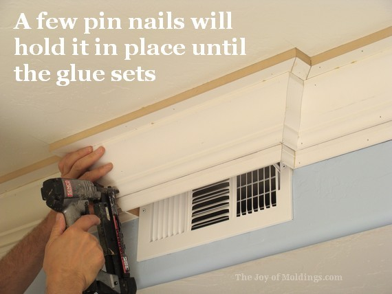 diy kitchen crown molding around air vent finished