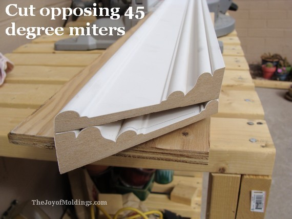 miter 45 degree angles on the door trim top