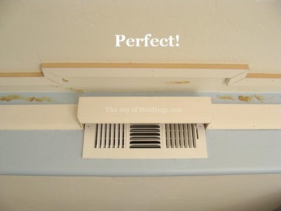kitchen crown molding cornice around air vent