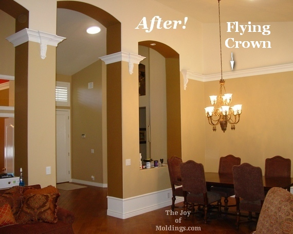 before and after installing crown molding on a vaulted ceiling