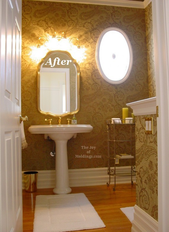 before & after: tall guest half bathroom - the joy of moldings