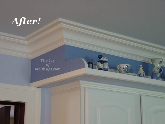 before and after kithcen crown molding installation with blue walls