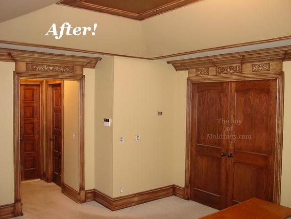 tray ceiling, door trim, entablature, walk in closets, big baseboard, crown molding