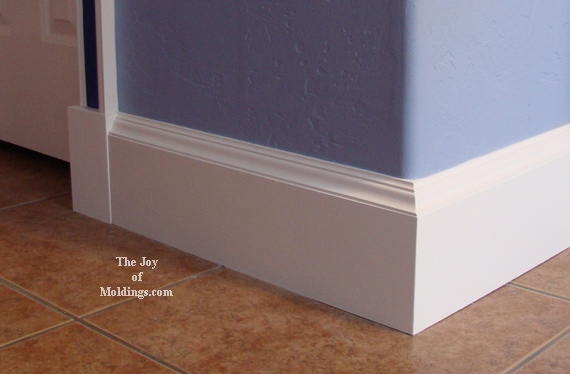 white painted mdf baseboard molding