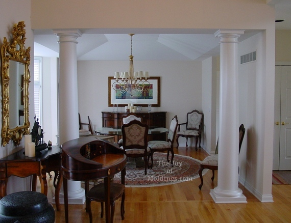 before and after moldings on tray ceiling