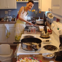 beautiuful woman cooking wearing apron