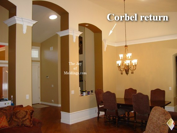 corbel return in great room with vaulted ceilings