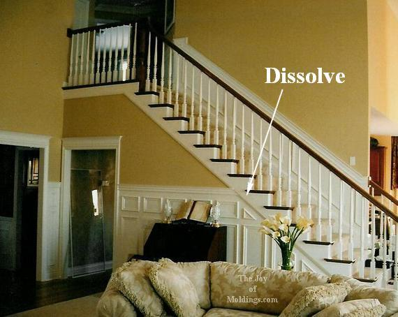 wainscoting wall frames on stairs in great room