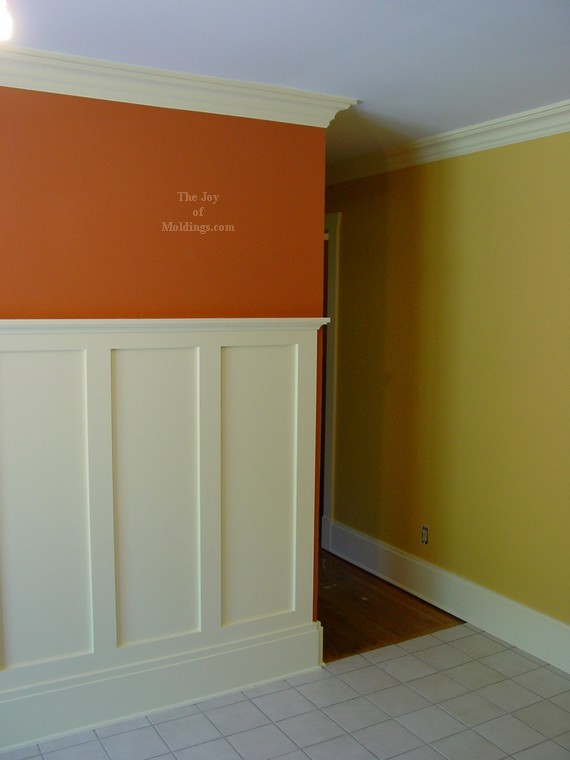 Craftsman style crown molding in kitchen renovation.