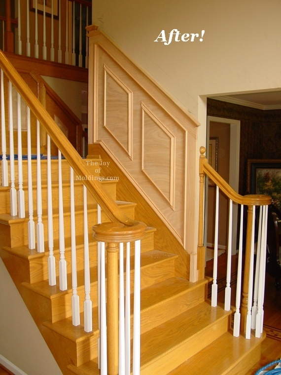 wainscoting molding trim panels on stairs oak