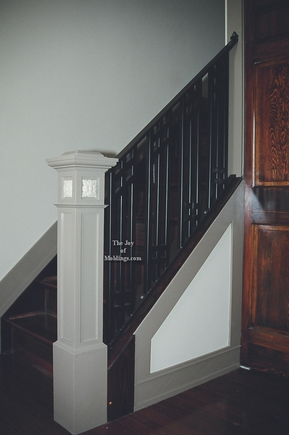 Newel Post Craftsman Victorian Style Painted The Joy Of Moldings   Craftsman Style Newel Post   Shaker   Construction   Colonial Elegance   Antique   1930 Style