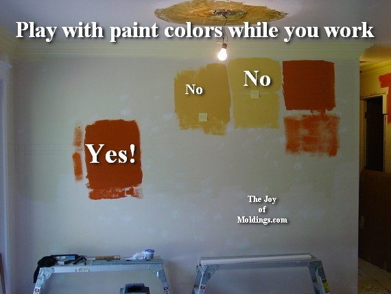 test paint colors on wainscoting wall