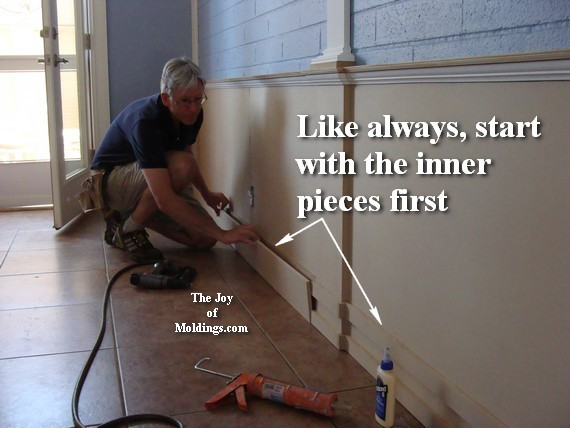 how to install wainscoting baseboard molding