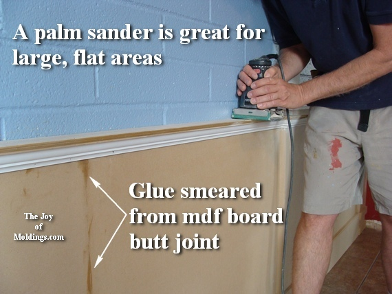 sand wainscoting with palm sander