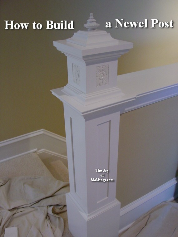 how to build a newel post on half wall