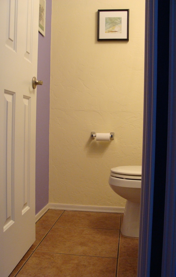 how to decorate a small half bathroom with moldings